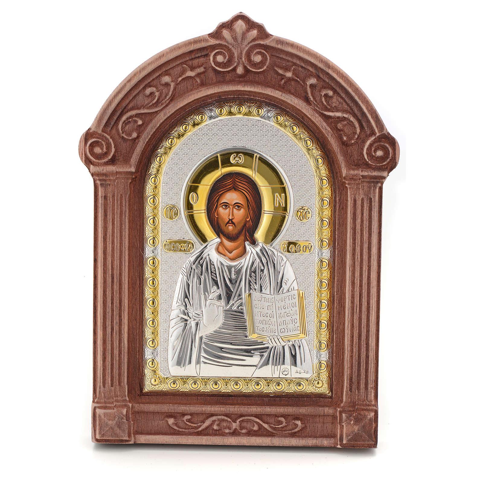 Icona serigrafata Cristo cornice legno 4