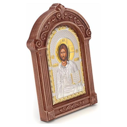 Icona serigrafata Cristo cornice legno 2