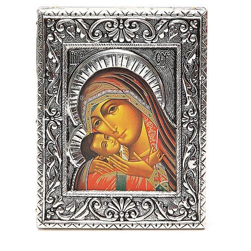 STOCK Icône Vierge Korsun plaque argent 925 12x9,5 cm 1