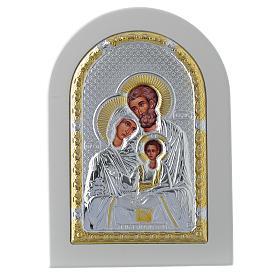 Icono Sagrada Familia 14x10 cm plata 925 detalles dorados s1