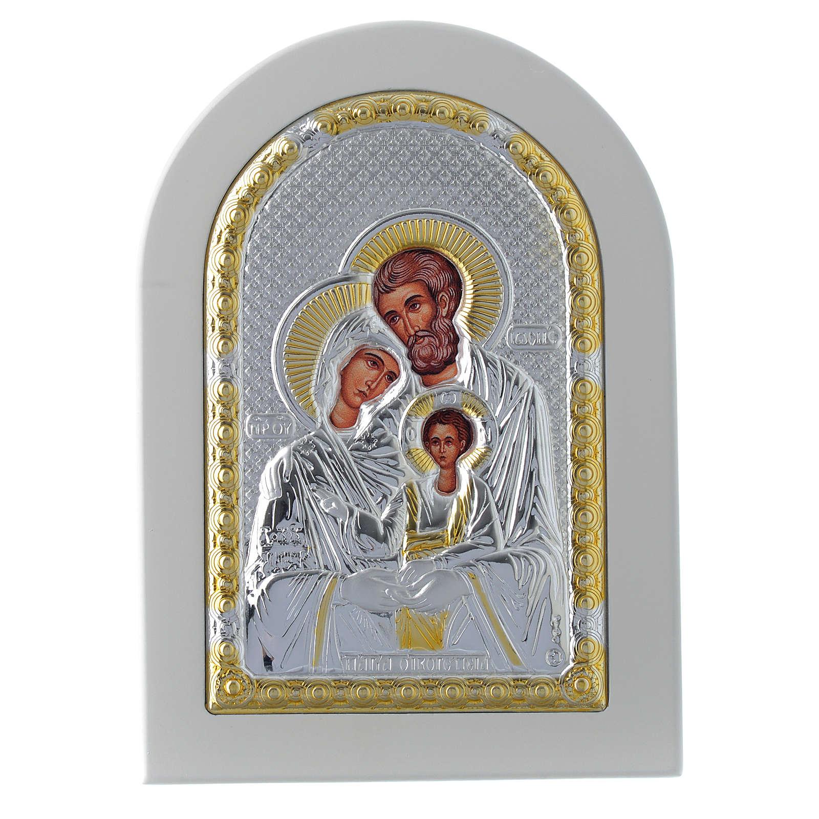 Icona Sacra Famiglia 14x10 cm argento 925 finiture dorate 4