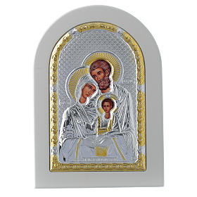 Icona Sacra Famiglia 14x10 cm argento 925 finiture dorate s1