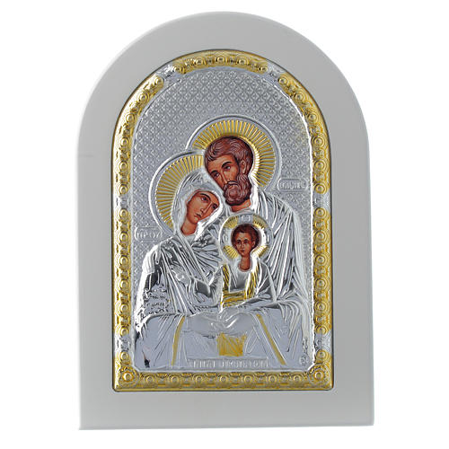 Icona Sacra Famiglia 14x10 cm argento 925 finiture dorate 1