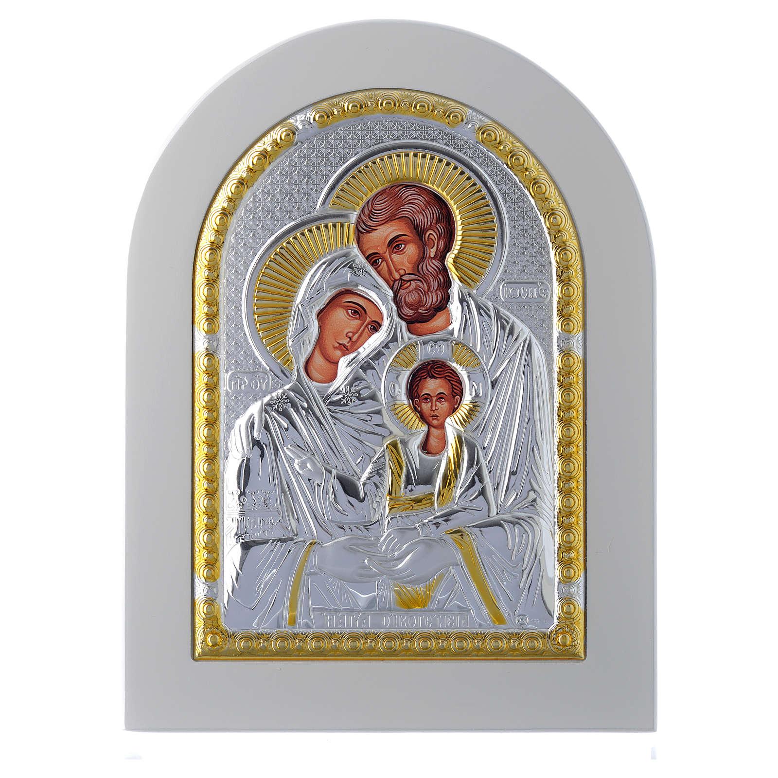Icona Sacra Famiglia 18x14 cm argento 925 finiture dorate 4