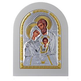 Icona Sacra Famiglia 18x14 cm argento 925 finiture dorate s1