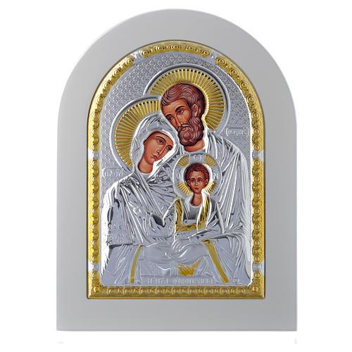 Icona Sacra Famiglia 18x14 cm argento 925 finiture dorate 1