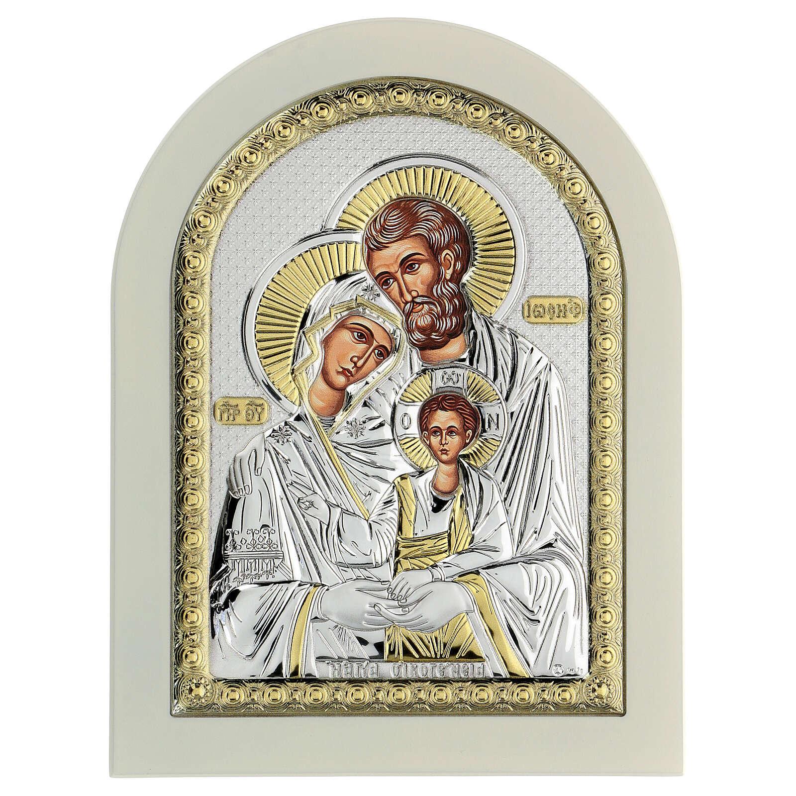 Icône Sainte Famille 24x18 cm argent 925 finitions dorées 4