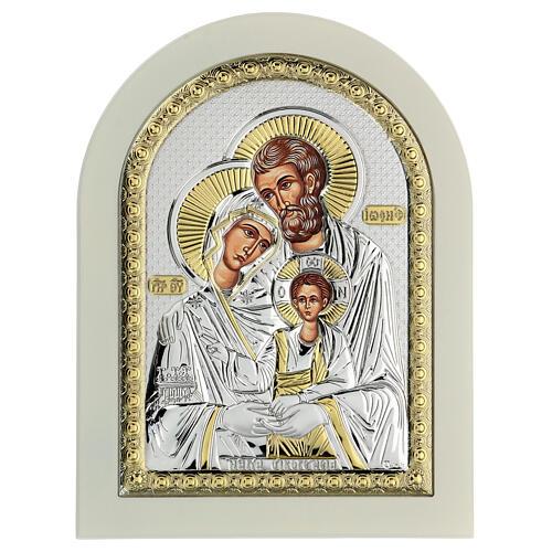 Icône Sainte Famille 24x18 cm argent 925 finitions dorées 1