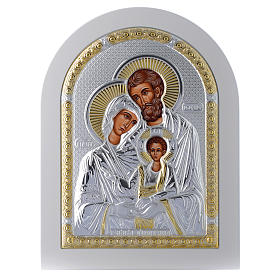 Icona Sacra Famiglia 24x18 cm argento 925 finiture dorate s1