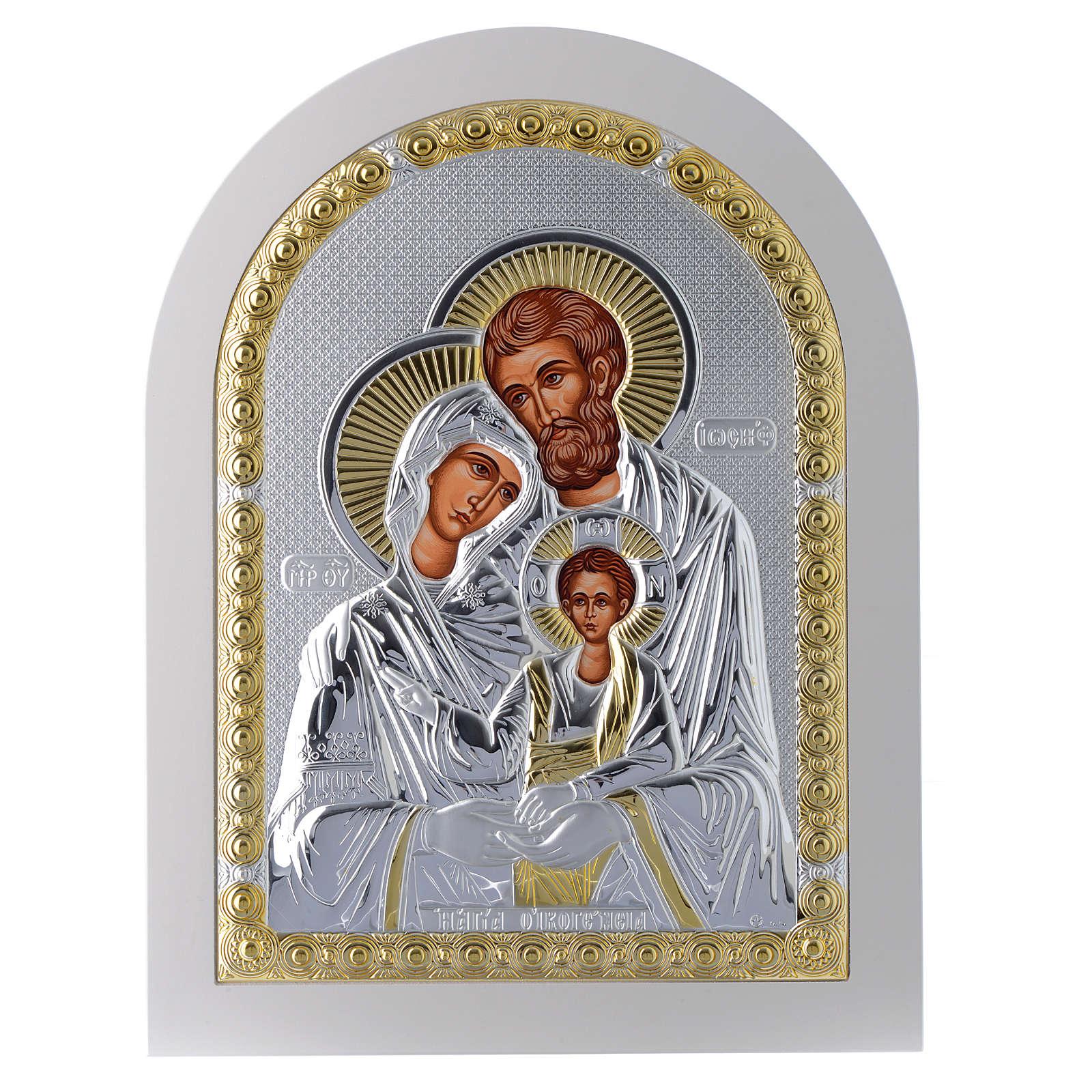 Icona Sacra Famiglia 30x25 cm argento 925 finiture dorate 4