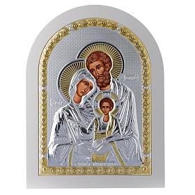 Icona Sacra Famiglia 30x25 cm argento 925 finiture dorate s1