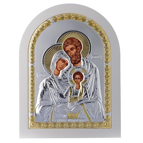 Icona Sacra Famiglia 30x25 cm argento 925 finiture dorate 1