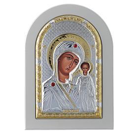 Icona Madonna di Kazan 14x10 cm argento 925 finiture dorate s1