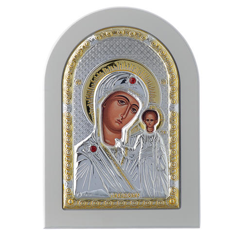 Icona Madonna di Kazan 14x10 cm argento 925 finiture dorate 1