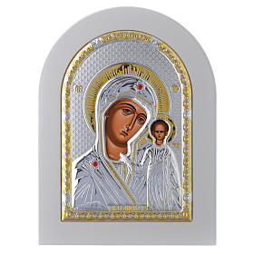 Icona Madonna di Kazan Famiglia 18x14 cm argento 925 finiture dorate s1