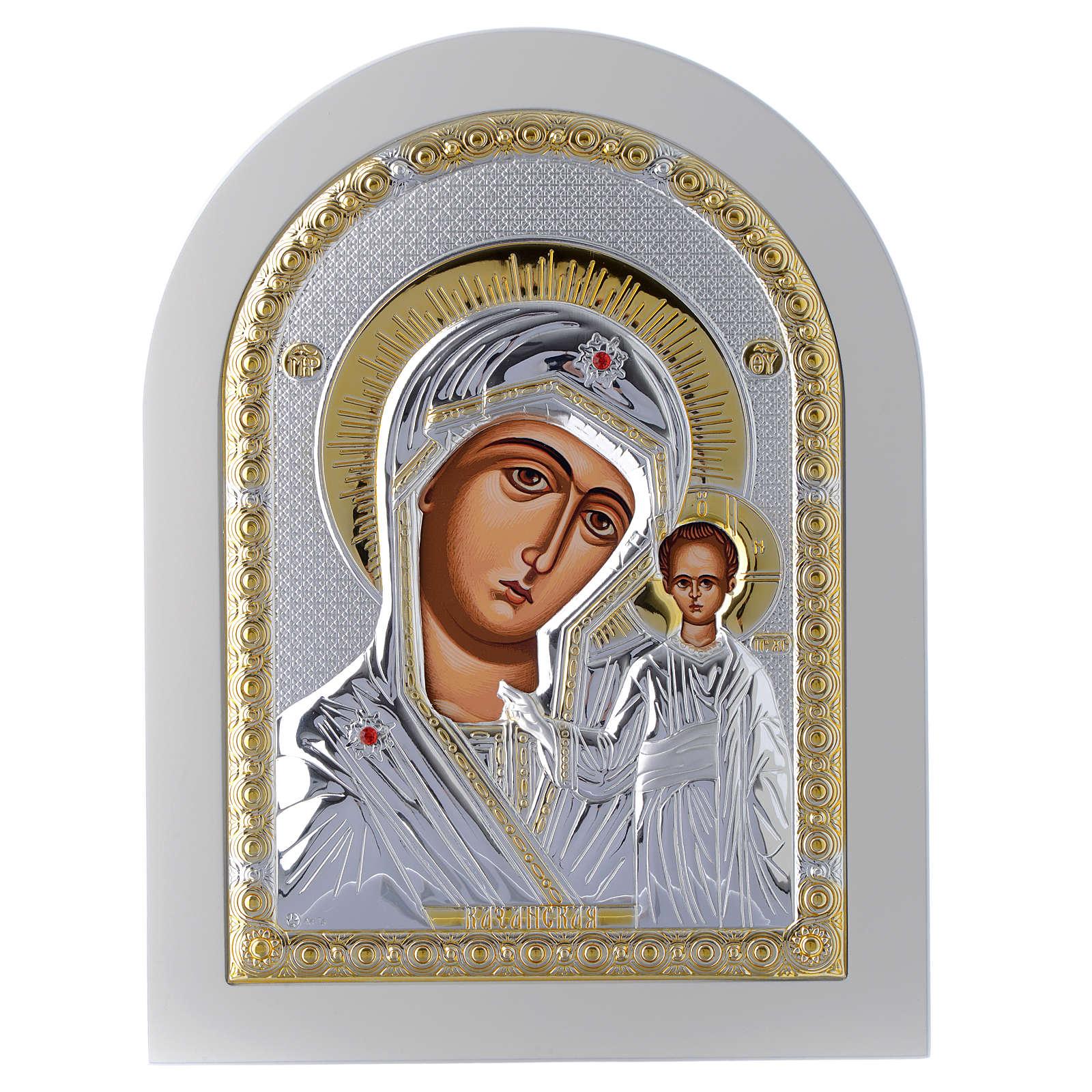 Icono Virgen de Kazan 24x18 cm plata 925 detalles dorados 4