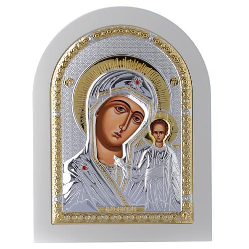 Icono Virgen de Kazan 24x18 cm plata 925 detalles dorados 1