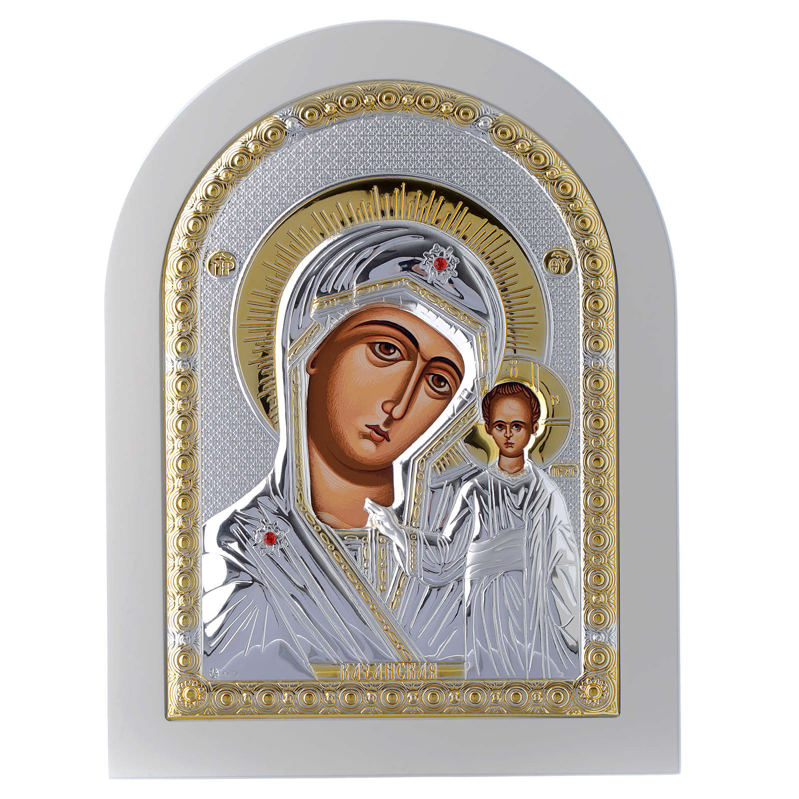 Greek silver icon Virgin of Kazan, gold finish 24x18 cm 4