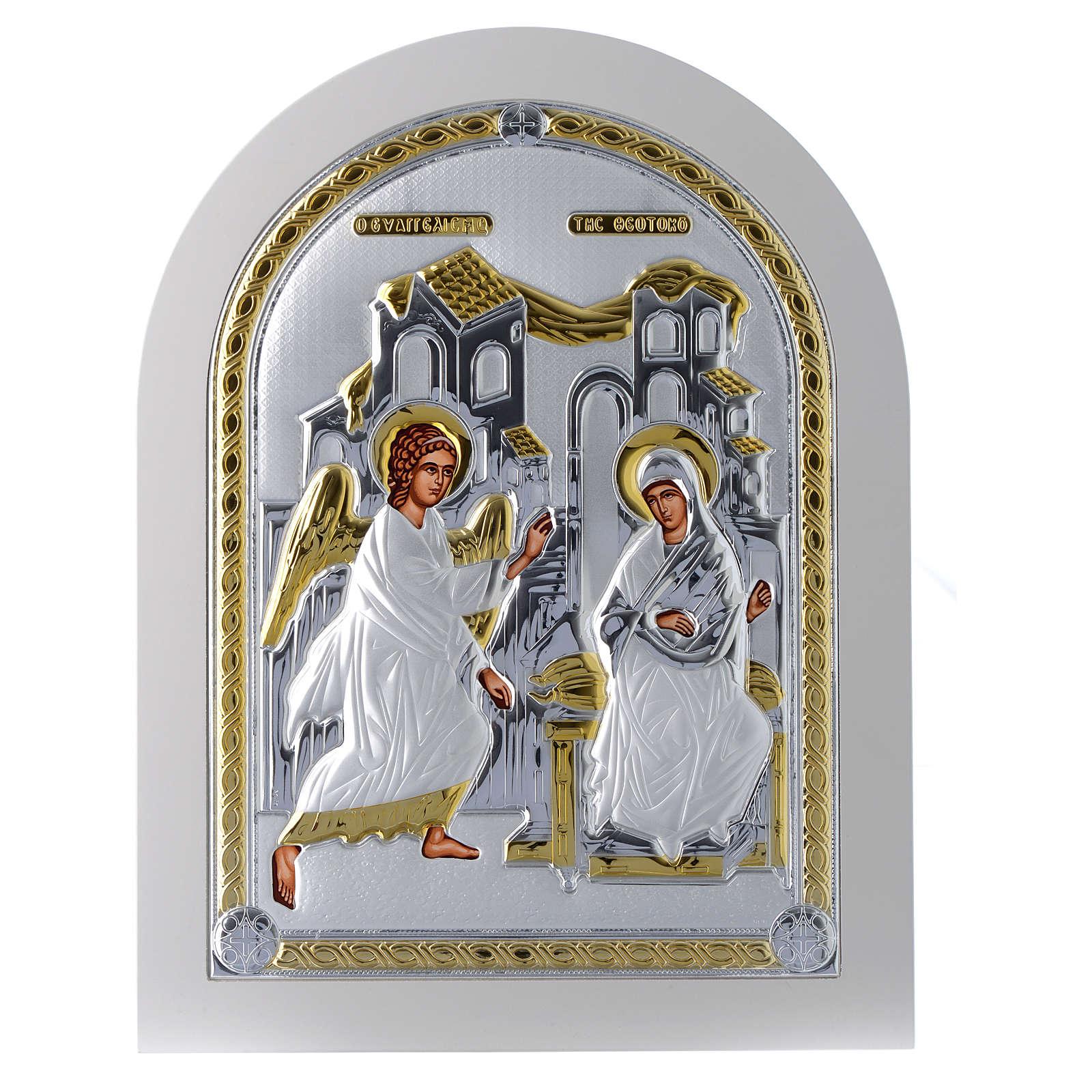 Icona Annunciazione 30x25 cm argento 925 finiture dorate 4