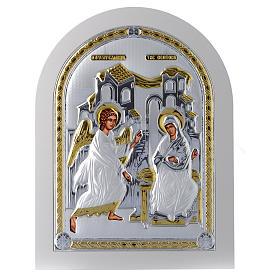 Icona Annunciazione 30x25 cm argento 925 finiture dorate s1