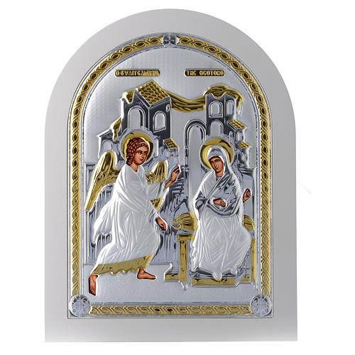 Icona Annunciazione 30x25 cm argento 925 finiture dorate 1