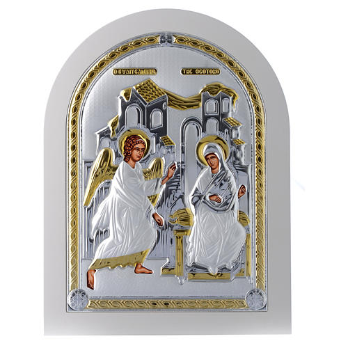 Greek silver icon Annunciation, gold finish 30x25 cm 1