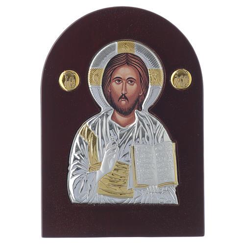 Icono Cristo Pantocrátor 14x10 cm plata 925 detalles dorados 1