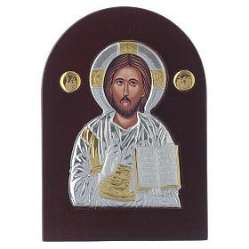 Icona Cristo Pantocratore 14x10 cm argento 925 finiture dorate s1