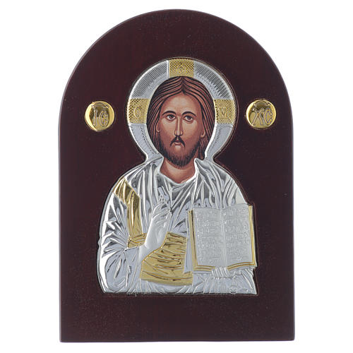 Icona Cristo Pantocratore 14x10 cm argento 925 finiture dorate 1