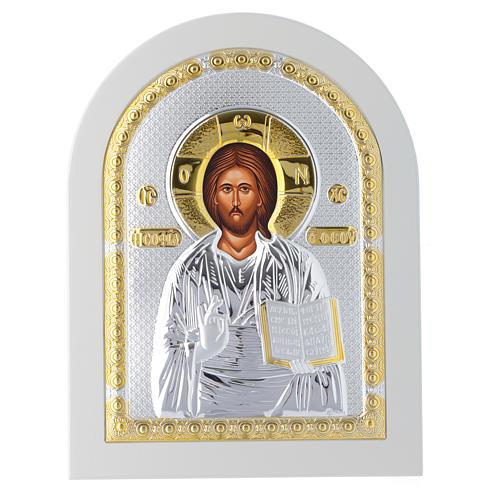 Icona argento Cristo libro aperto 25x20 cm finiture dorate 1