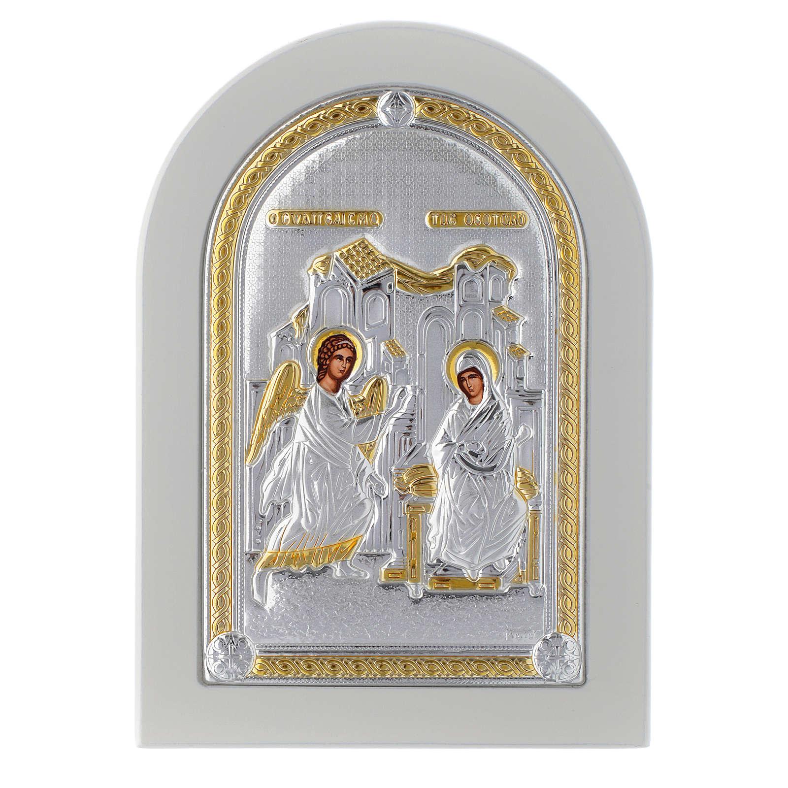 Icona argento Annunciazione 14x10 cm finiture dorate 4