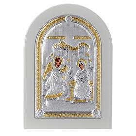 Icona argento Annunciazione 14x10 cm finiture dorate s1