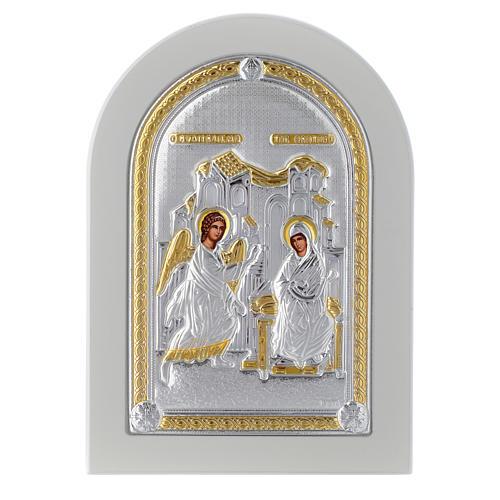 Icona argento Annunciazione 14x10 cm finiture dorate 1