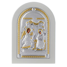 Greek silver icon Annunciation, gold finish 14x10 cm s1