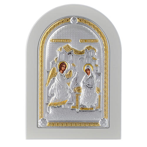 Greek silver icon Annunciation, gold finish 14x10 cm 1
