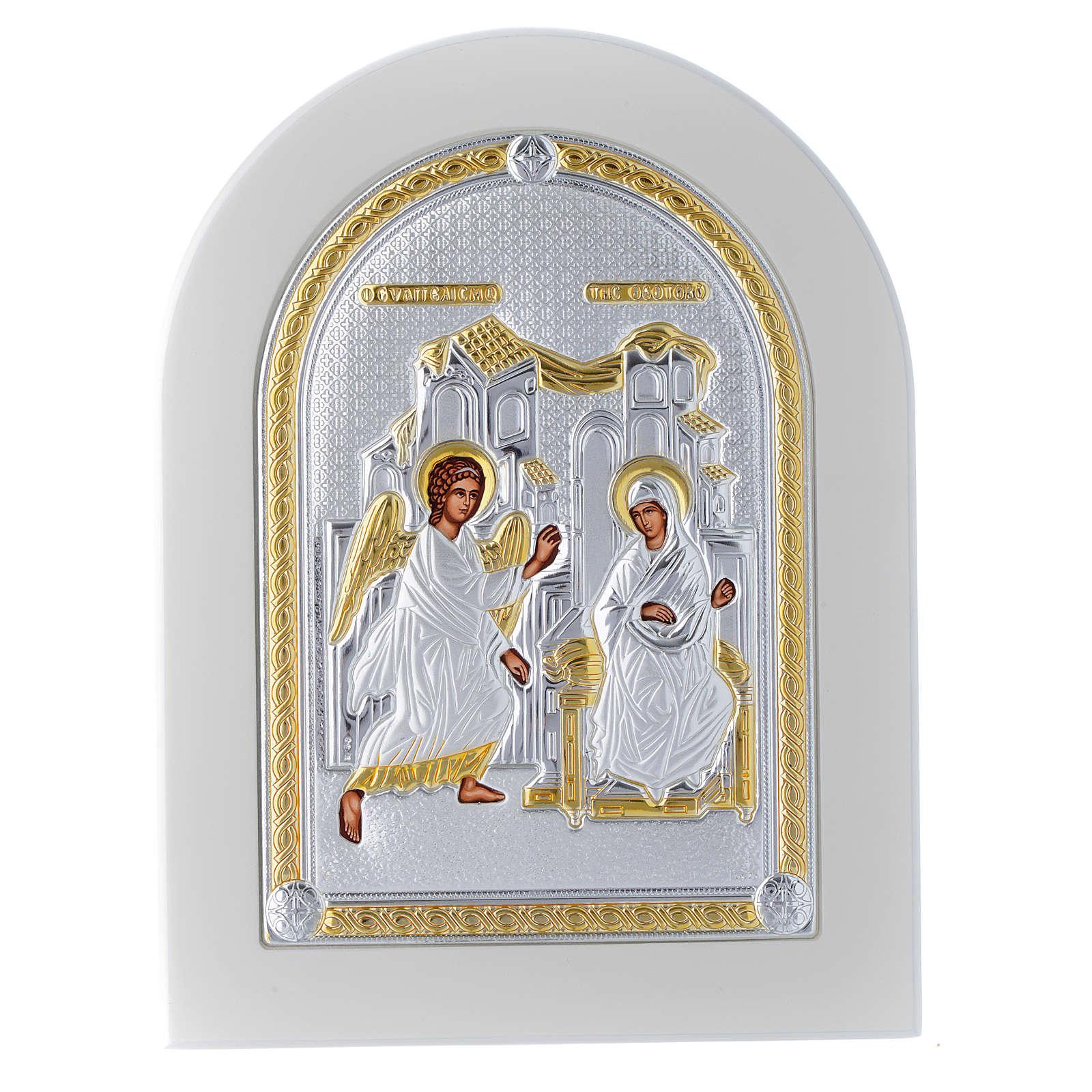 Icono plata 20x15 cm Anunciación detalles dorados 4