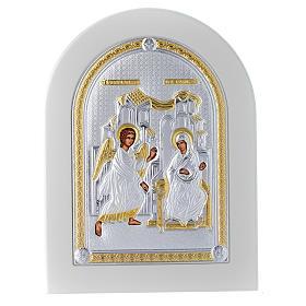 Icono plata 20x15 cm Anunciación detalles dorados s1