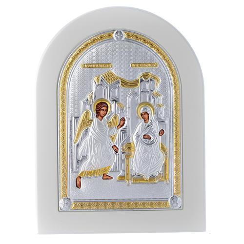 Icono plata 20x15 cm Anunciación detalles dorados 1