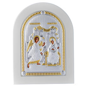 Icona argento 20x15 cm Annunciazione finiture dorate s1