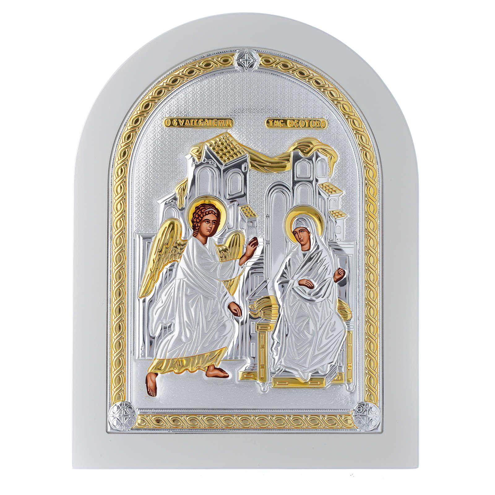 Icona argento Annunciazione finiture dorate 25x20 cm 4