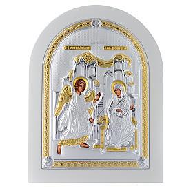 Icona argento Annunciazione finiture dorate 25x20 cm s1
