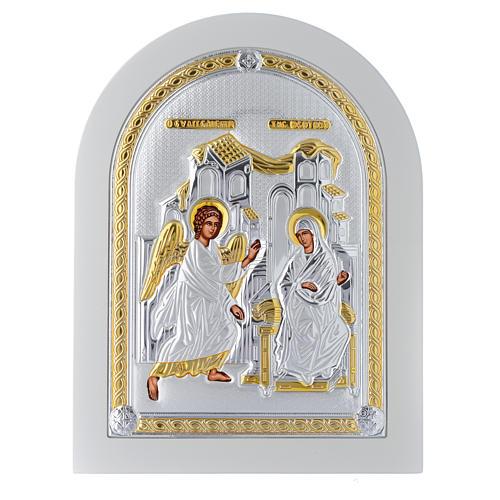 Icona argento Annunciazione finiture dorate 25x20 cm 1