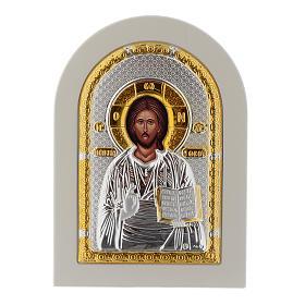 Icône Christ Livre Ouvert 14x10 cm argent 925 finitions dorées s1