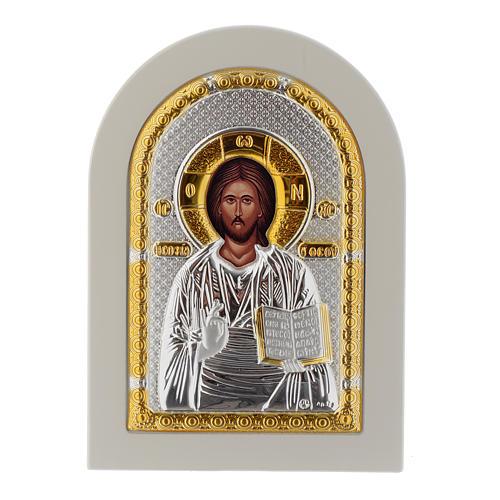 Icône Christ Livre Ouvert 14x10 cm argent 925 finitions dorées 1
