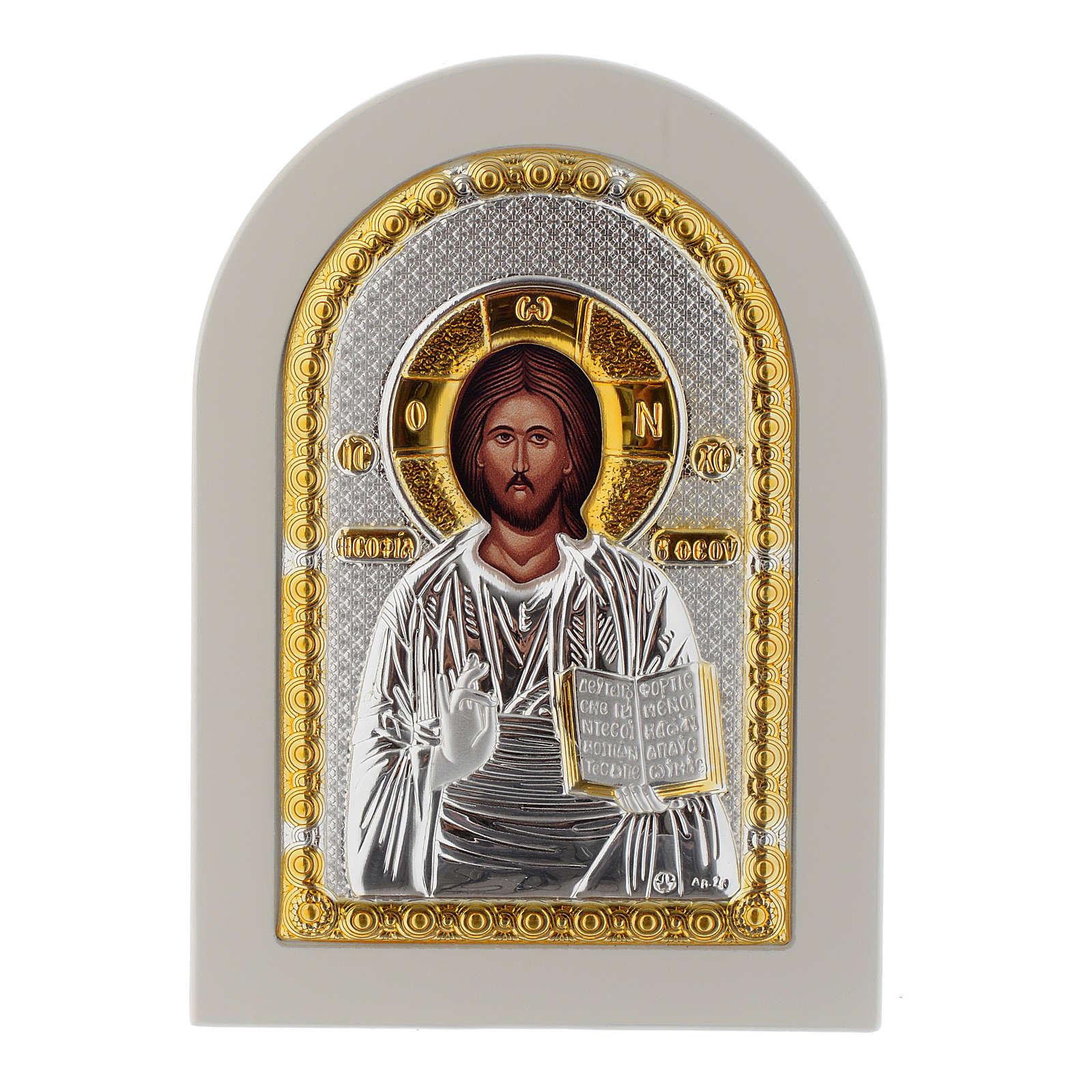 Icona Cristo Libro Aperto 14x10 argento 925 finiture dorate 4