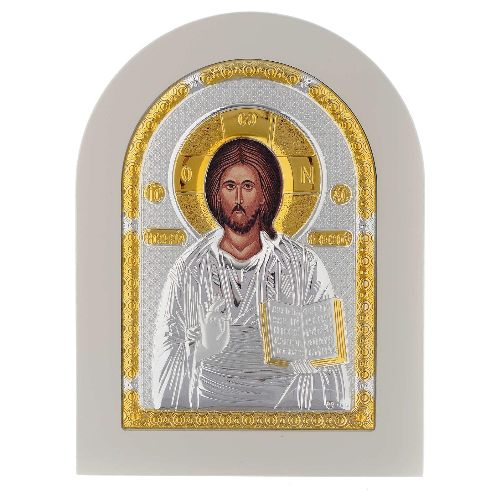 Icona Cristo Libro Aperto 20x14 argento 925 finiture dorate 4