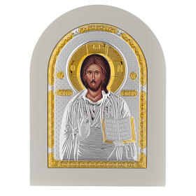 Icona Cristo Libro Aperto 20x14 argento 925 finiture dorate s1