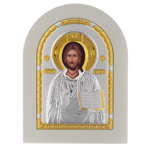 Icona Cristo Libro Aperto 20x14 argento 925 finiture dorate 1