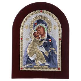 Icône en sérigraphie Vierge de Vladimir argent 20x15 cm s1