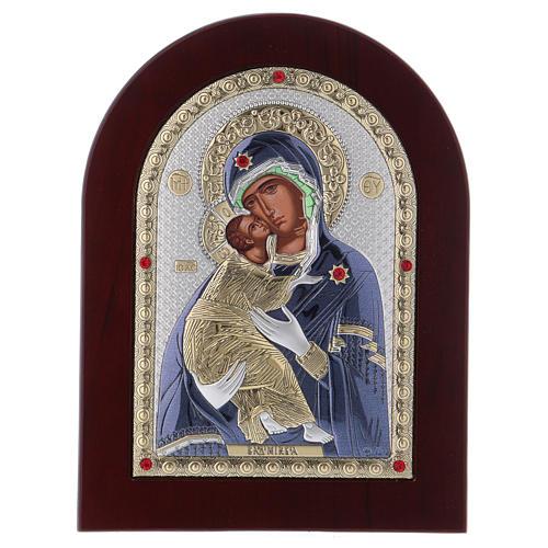 Icône en sérigraphie Vierge de Vladimir argent 20x15 cm 1